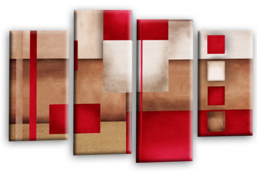 Abstract Canvas Wall Art Red Grey Cream Picture Print